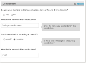 Future Savings or Investments Contributions